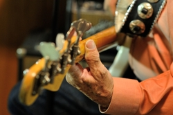 The Fireballs Stan Lark's hand playing his 1958 Fender P-Bass