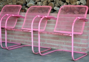 pink lounge chairs at Norman Petty Studios