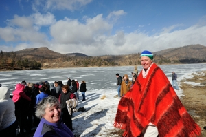 Christina Boyce and Barbara Neary at Polar Bear Plunge 2014, Lake Maloya