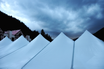 Michael Hearne's Big Barndance Music Festival 2014, Taos Ski Valley, Big-Top Tent in storm