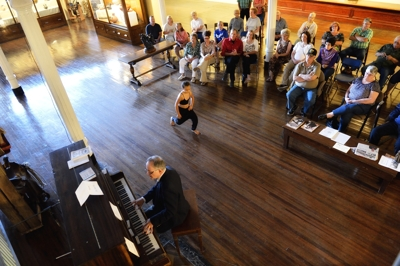 Texas piano player Terry Lakes at Mitchell Museum in Trinidad