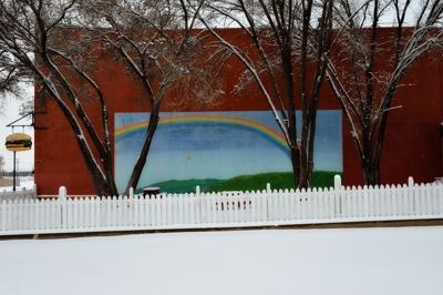 Summer mural in winter snow, Raton New Mexico