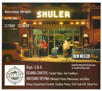 The Shuler Theater at night by Tim Keller, in 2015 ad by New Mexico True