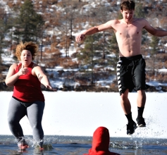 Polar Bear Plunge, New Year's Day 2016, Lake Maloya, Raton NM