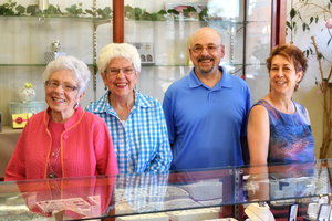Anthony's Jewelers staff, Raton NM, Joe Spicola, Gerry Davis, Jeannie Kamm, Joyce Frew