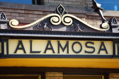 Alamosa, Colorado - city sign at train yard 2016