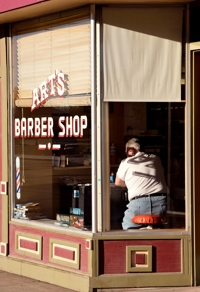 Art's Barber Shop, Alamosa, Colorado, Sunday sunrise, April 2016