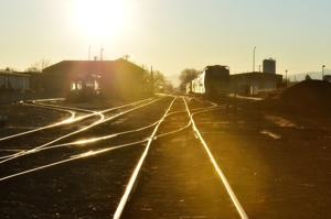 Empty railyard at Alamosa, Colorado, sunrise, 2016