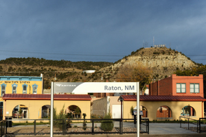 Goat Hill above downtown Raton, New Mexico at the depot on historic First Street, by Tim Keller