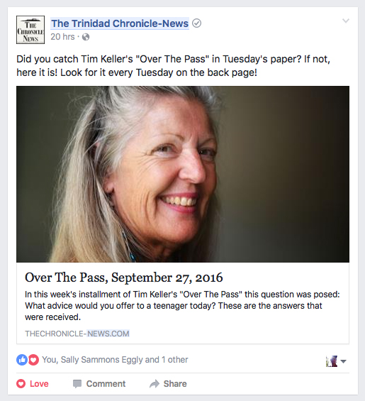 Anita Moffett in The Chronicle-News Facebook, Tim Keller's Connections