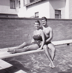 Jack and Joan Day Keller, swimming pool, 1950s