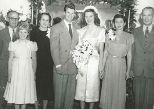 Wedding of Jack Keller and Joan Day Keller, Oaklawn Road, Cheviot Hills, Los Angeles, August 20, 1948