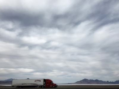 Bonneville Salt Flats, truck on Utah highway 80