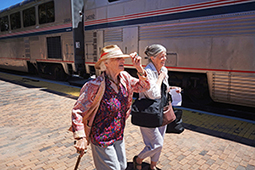 Boarding Amtrak Southwest Chief at Lamy, NM