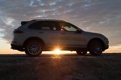 Porsche Cayenne S 2017 - Arkansas River sunrise, Holcomb, Kansas, by Tim Keller