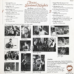 Texas Summer Nights - album back cover, 1983