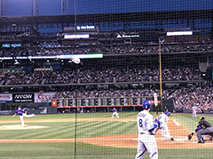Dodgers vs. Rockies at Coors Field, Justin Turner swinging, Manny Machado on deck, Sept 2018