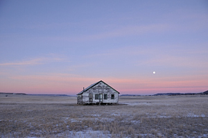 Lonely House with Moon - Capulin - photo by Tim Keller