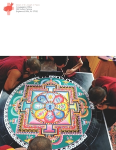 Living Peace magazine with Tim Keller photos of sand mandalas